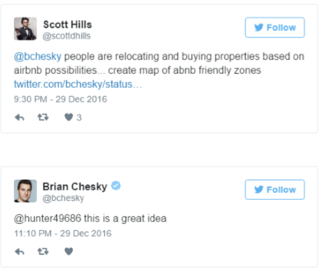 brian chesky product feedback on twitter